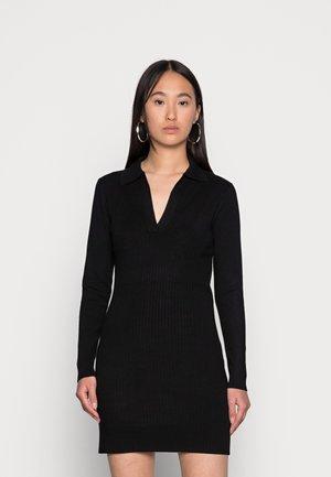 RACHEL SHORT SLEEVE POLO MINI DRESS - Jumper dress - black