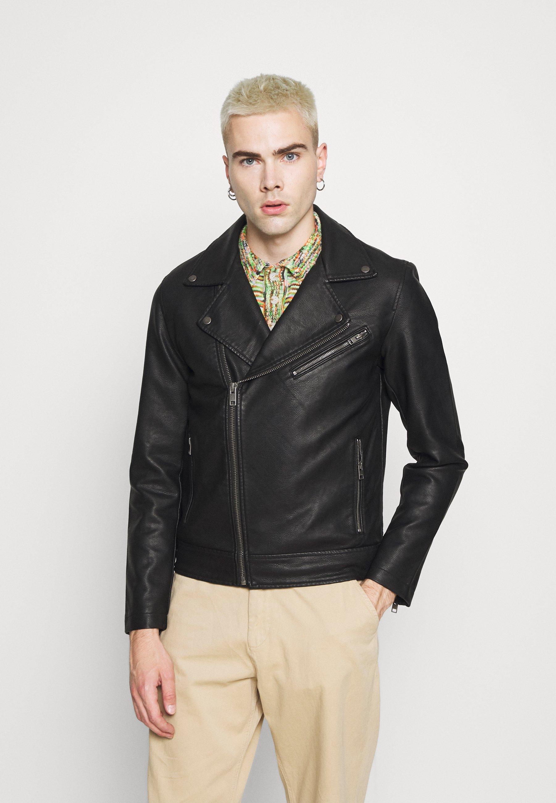 Men JPRBLAICON BIKER - Faux leather jacket