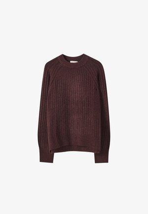 Stickad tröja - dark red