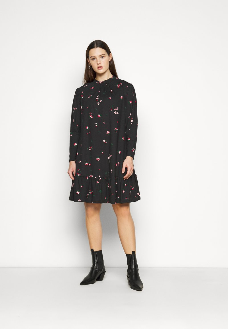 New Look Curves - MILLIE HIGH NECK TIER SMOCK - Day dress - black