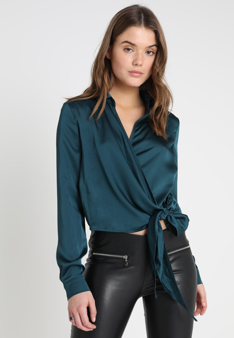 Missguided - WRAP FRONT SIDE TIE - Blůza - teal