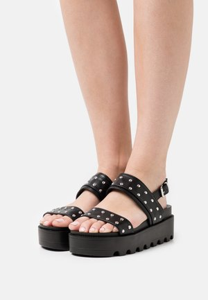 VEGAN SOLITUDE STUDDED STRAP CHUNKY SLIDERS - Platform sandals - black