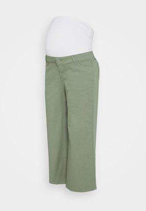 WIDE LEG CROP - Straight leg jeans - khaki