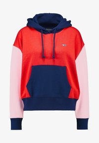 Tommy Jeans - COLORBLOCK HOODIE - Hoodie - black iris/multi