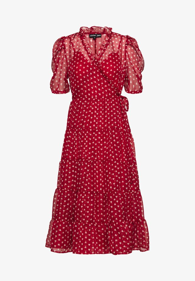 SCARLET WHISTLE MIDI WRAP DRESS - Vapaa-ajan mekko - red