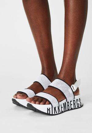 REBECA - Korkeakorkoiset sandaalit - white/black