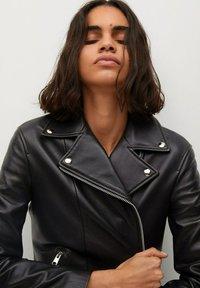 Mango - Leather jacket - schwarz - 3