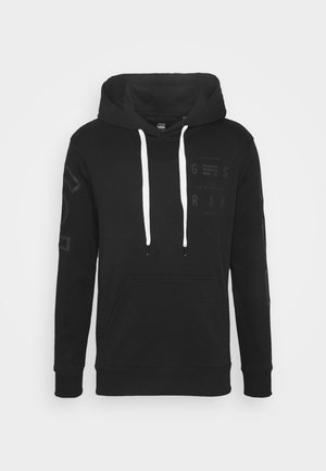 CORE GRAPHIC HOODED LONG SLEEVE - Luvtröja - dark black