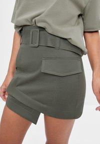 Bershka - A-line skirt - khaki - 3