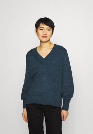 CROSSOVER V NECK - Jumper - navy heather