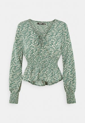 TIE FRONT BLOUSE - Long sleeved top - green