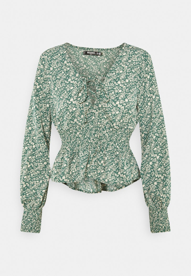 Missguided Tall - TIE FRONT BLOUSE - Topper langermet - green