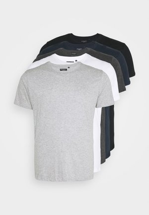 HARRIS 5 PACK - Basic T-shirt - black/white/lt grey marl/navy/dk charcoal marl