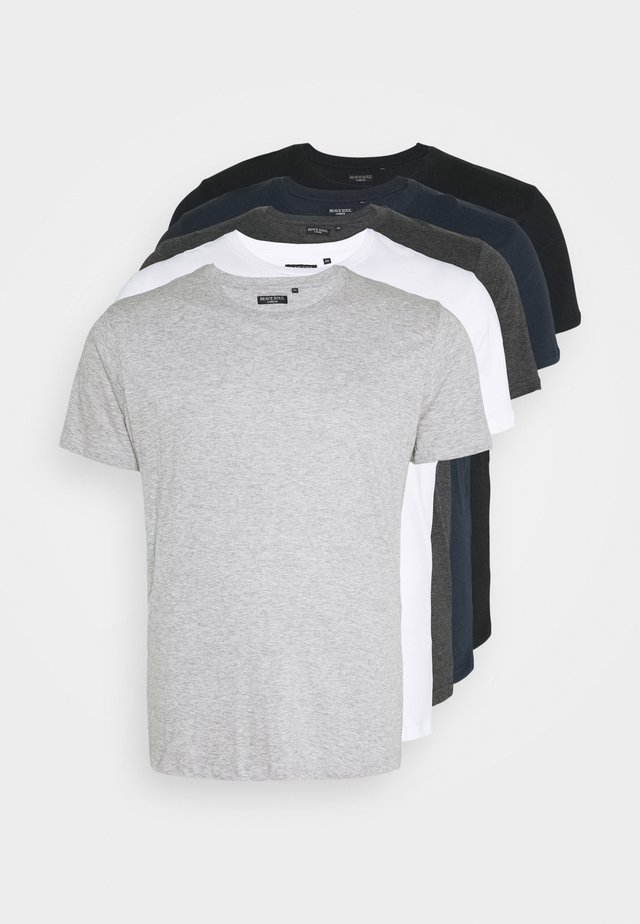 HARRIS 5 PACK - Jednoduché triko - black/white/lt grey marl/navy/dk charcoal marl
