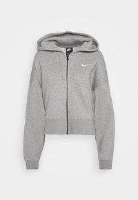 TREND - veste en sweat zippée - dark grey heather/white