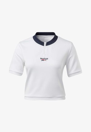 CLASSICS CROPPED V-NECK T-SHIRT - Camiseta estampada - white