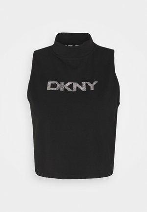 MOCK NECK CROPPED TANK RHINESTONE LOGO - Print T-shirt - black