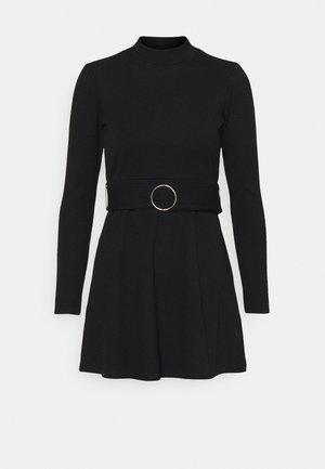 GIA BELTED MINI DRESS - Jumper dress - black
