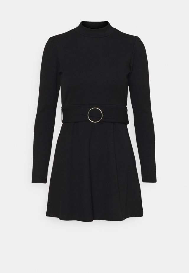GIA BELTED MINI DRESS - Gebreide jurk - black