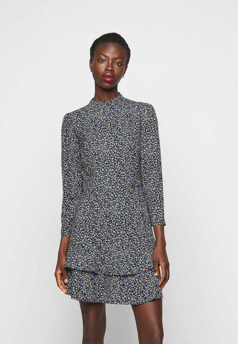 Dorothy Perkins Tall - TALL DITSY SHEERED NECK MINI DRESS - Day dress - multi