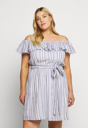 RUFFLE NECK MIDI - Day dress - dark chambray