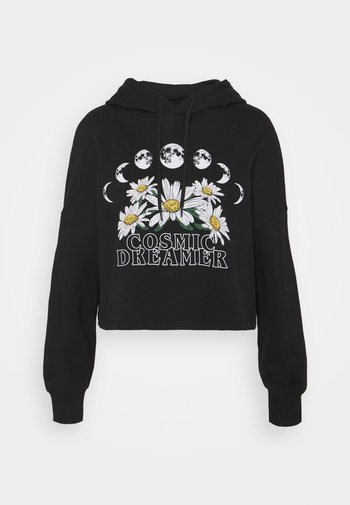 Cropped Oversized Printed Hoodie - Jersey con capucha - black