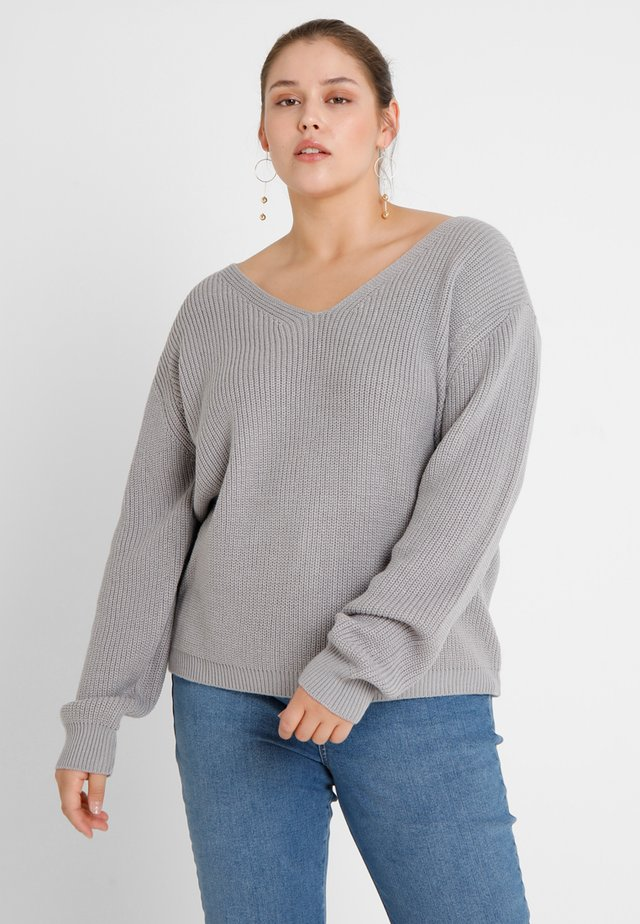 LADIES BACK LACE UP - Pullover - grey