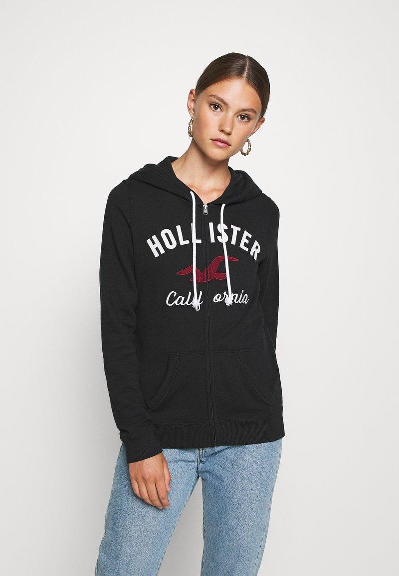 Hollister Co. - TERRY TECH CORE - Mikina na zip - black