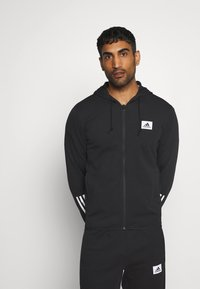 adidas Performance - AEROREADY TRAINING SPORTS SLIM HOODED JACKET - Mikina na zip - black/white - 0
