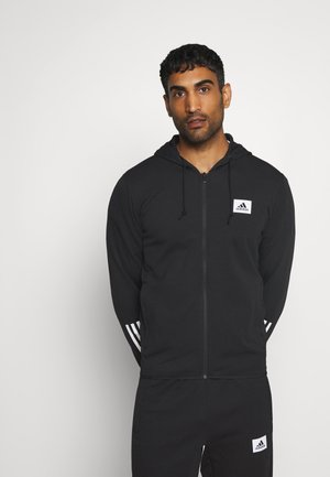 AEROREADY TRAINING SPORTS SLIM HOODED JACKET - veste en sweat zippée - black/white