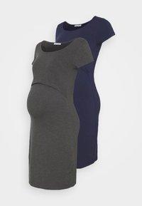Anna Field MAMA - 2ER PACK NURSING FUNCTION DRESS - Etuikjole - dark blue/dark grey - 0