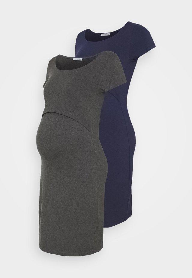 2ER PACK NURSING FUNCTION DRESS - Shift dress - dark blue/dark grey