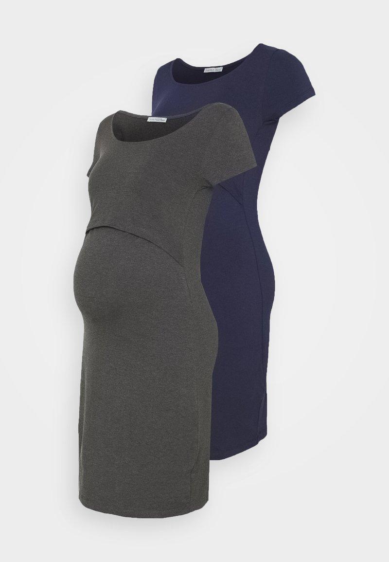 Anna Field MAMA - 2ER PACK NURSING FUNCTION DRESS - Etuikjole - dark blue/dark grey