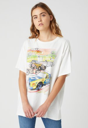 Print T-shirt - worn white