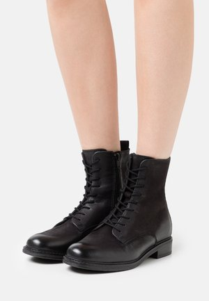 LEATHER - Bottines à lacets - black
