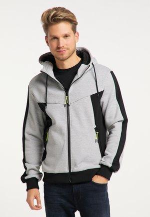 Zip-up hoodie - hellgrau schwarz