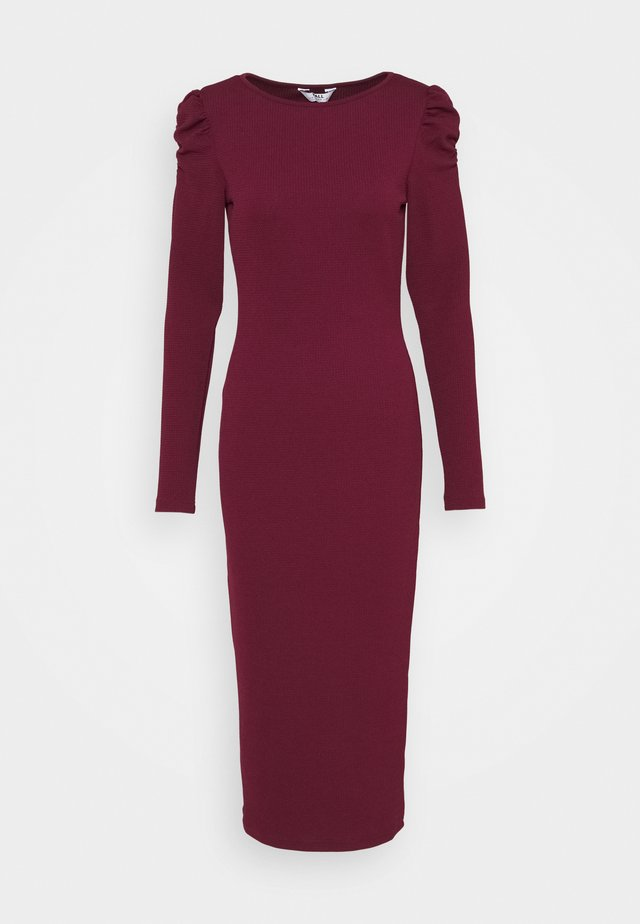 RUCHED SLEEVE BODYCON - Vestito di maglina - berry