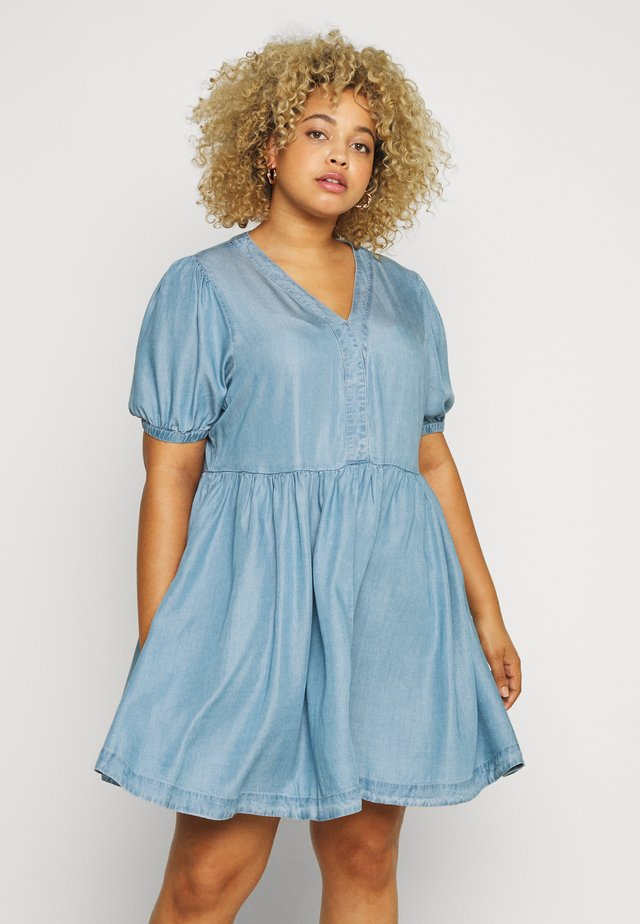 PUFF SLEEVE SMOCK DRESS - Denimové šaty - mid blue