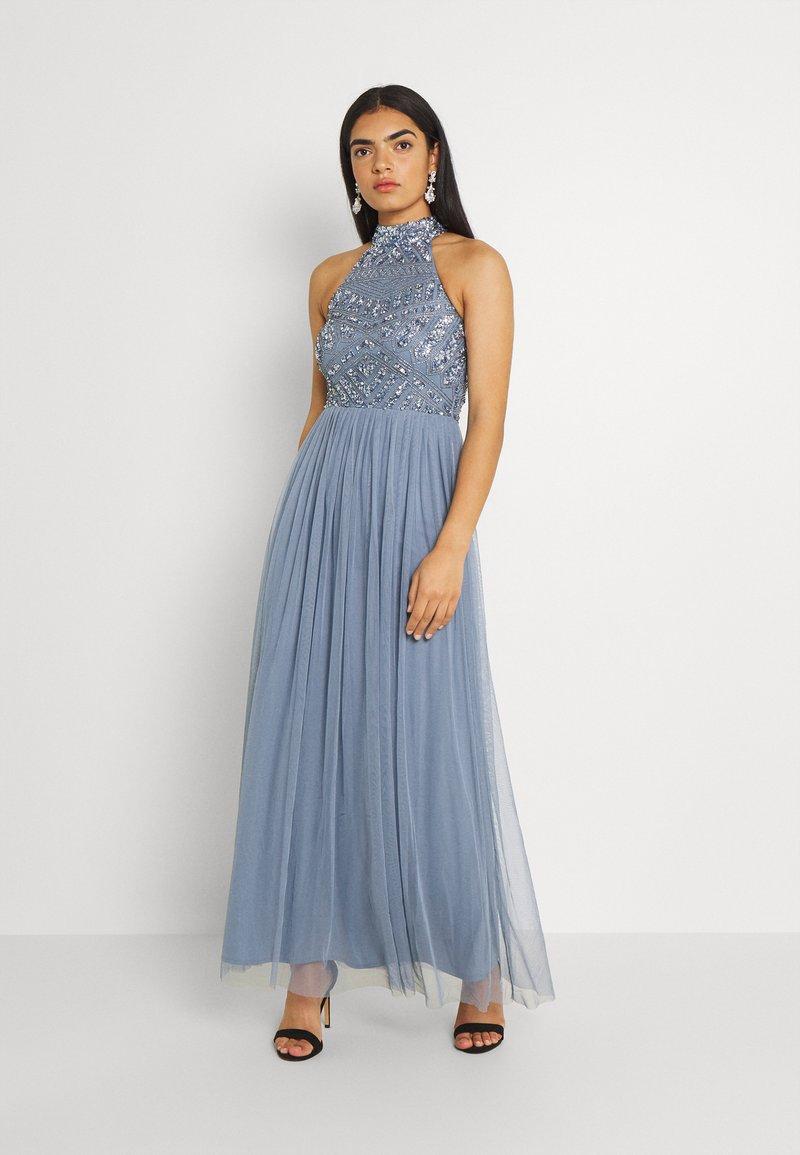 Lace & Beads - SEREN MAXI - Maxikjole - dusty blue