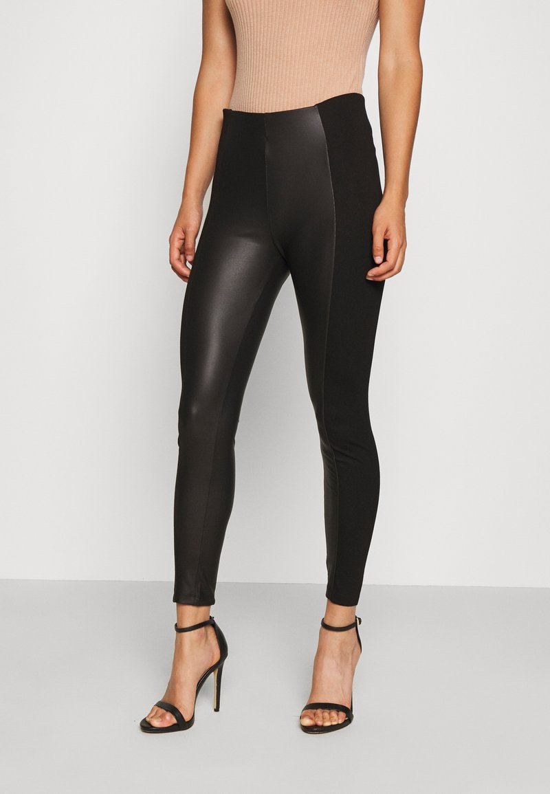 Even&Odd - PU LEGGINGS WITH PUNTO INSERTS - Leggings - black