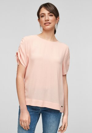 MET KORTE MOUWEN EN KOORD - Print T-shirt - apricot