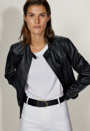 MIT STRUKTUR - Leather jacket - black