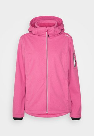 WOMAN JACKET ZIP HOOD - Softshellová bunda - fragola melange