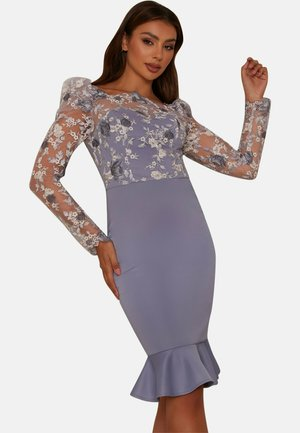 PEPLUM EMBROIDERED BODYCON - Cocktail dress / Party dress - blue