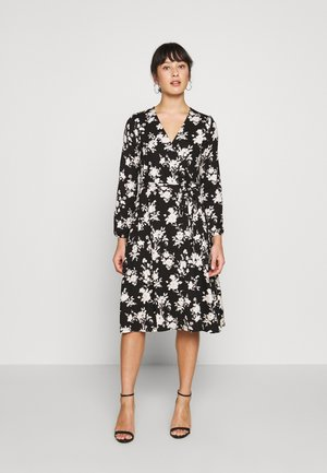 MONO FLORAL WRAP DRESS - Day dress - black