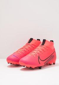 Nike Performance - MERCURIAL JR 7 ACADEMY FG/MG UNISEX - Moulded stud football boots - laser crimson/black - 3