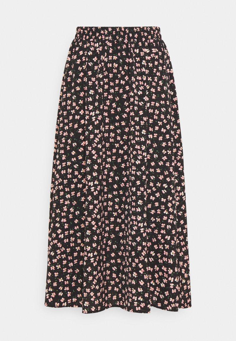 Pieces - PCDALLAH MIDI SKIRT - A-line skirt - black/pink