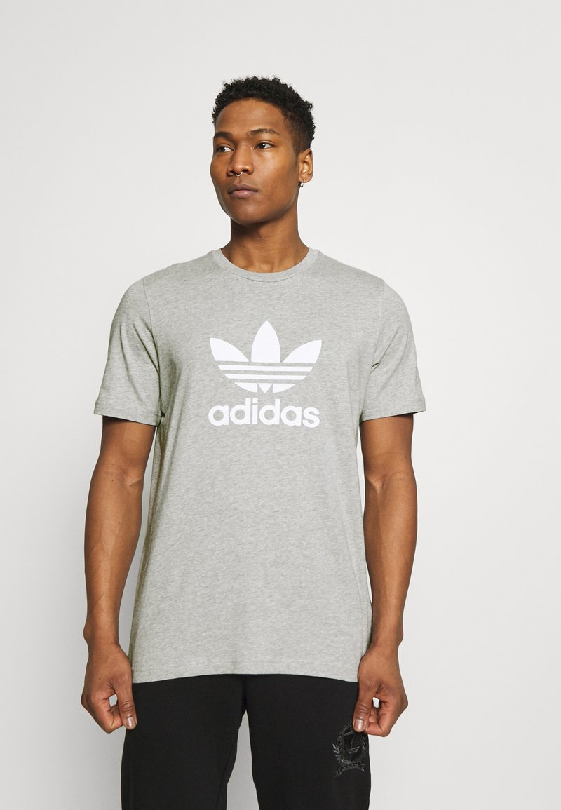 adidas Originals - TREFOIL UNISEX - T-shirt med print - medium grey heather/white