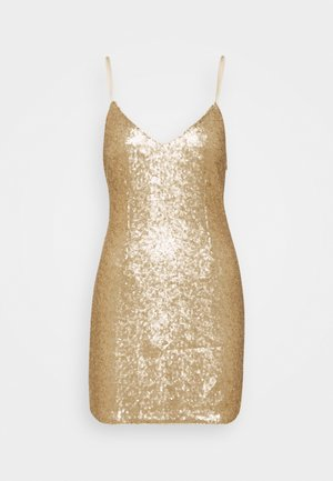 PARTY SEQUIN MINI DRESS - Vestido de cóctel - gold