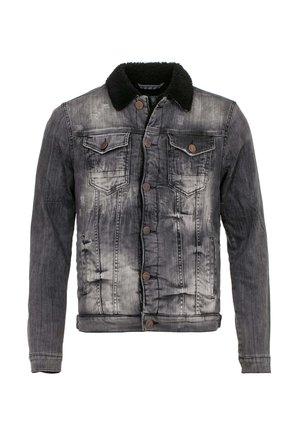 MIT COOLER UND KRAGEN - Denim jacket - black